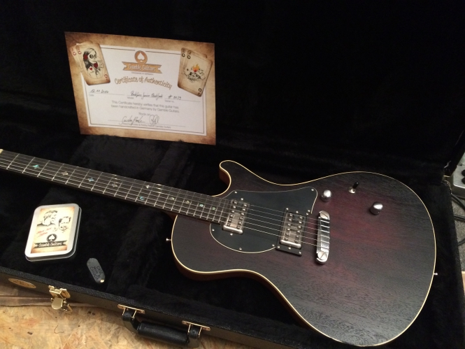 Gamble Guitars Rockfire Junior, Black Jack Edition, dark red, flamed honduran Mahogany neck! SOLD!