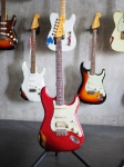 Fender Custom Shop Stratocaster, Jason Smith Masterbuilt, '65 Strat, Candy Apple Red over 2T Sunburst, heavy relic, SOLD!
