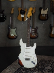 Fender Custom Shop 1963 heavy Relic Stratocaster, Rosewood Fingerboard, Olympic White over Sunburst, SOLD!